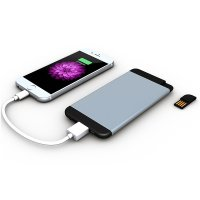 LUXURY ULTRA-THIN POWER BANK WITH USB FLASH DRIVE, 5000 mAh