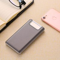 Dual metal power bank with display and LED torch, leather imitation, 10000 mAh, dark gray colour (PBA10078)