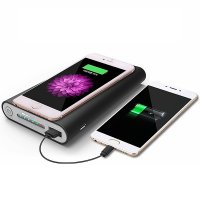 WIRELESS Qi POWER BANK WITH RUBBER COATED SURFACE, 8000/10000 mAh