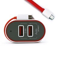 MAINS DUAL USB ADAPTER WITH BUILT-IN MICRO USB CABLE