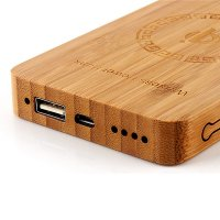 INDUCTION QI POWER BANK (WIRELESS PORTABLE CHARGER) BAMBOO 6000 mAh