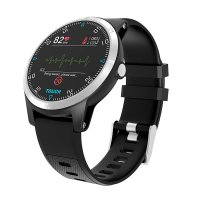Smart watch with heart ratem blood pressure and ECG monitor, black colour (BRA040)