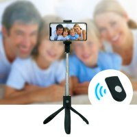 Tripod Bluetooth selfie stick, black colour (CAM031)