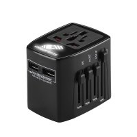 UNIVERSAL TRAVEL ADAPTER WITH 2 USB PORTS AND OPTIONAL LED LOGO