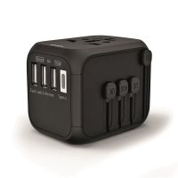 UNIVERSAL TRAVEL ADAPTER WITH 3 USB AND TYPE-C PORTS
