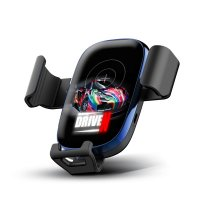 10W WIRELESS CHARGING CAR CELL PHONE HOLDER, WITH A LED LOGO