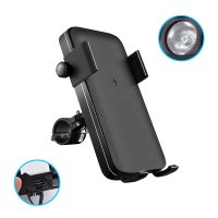 3-in-1 Bicycle phone holder, wireless power bank and LED torch, darkgrey color (PBQ5013)