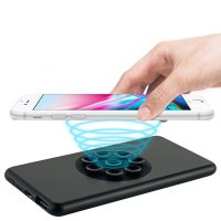METAL SLIM POWER BANK WITH WIRELESS CHARGING AND SUCTION CUPS, 5000 MAH