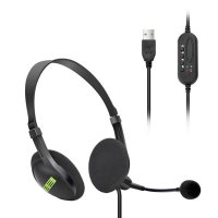 STEREO HEADPHONES WITH MICROPHONE AND USB CONNECTOR