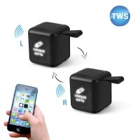 SET OF 2 MINI CUBE BLUETOOTH SPEAKERS WITH TWS FUNCTION AND LED LOGO