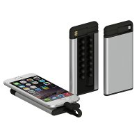 Slim power banks with suction cups and inserted power cable, 4000 mAh, silver colour (PBA4090)